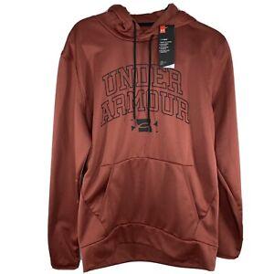 NWT Under Armour Mens Medium Logo Coldgear Brown Hoodie Front Pocket 1360744 $55