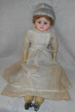 "30"" Antique 1850s Paper Mache Head Doll Glass Eyes Wooden Legs Arms Gesso Finish"