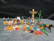 Lot of Vintage Playmobil Indian Figures, Horses + Accessories
