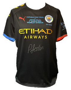 PHIL FODEN SIGNED MANCHESTER CITY CUP FINAL 2019/20 FOOTBALL SHIRT PROOF COA