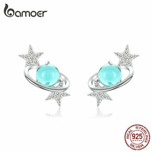 BAMOER Women Stud Earrings 925 Sterling silver Interstellar With Blue CZ Jewelry