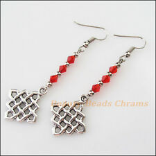 Winsome Silver Retro Chinese Knot Red Crystal Dangle Hook Earrings Women Jewelry
