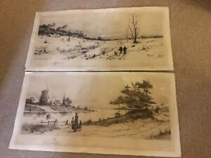 A Pair Of Etchings By Otto Dinger Remarques. C 1900 59cm X 30 Cm Scarce