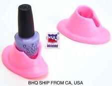 2 Pcs Rubber Bottle Holder Nail Art Varnish Polish Salon Tool Pink
