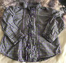 Baby Girls Gap Checked Shirt Lilac Uk Size 2 Years Old