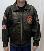 Vintage Guess Air Command 1981 Leather Flight Bomber Jacket Flying Aces Medium