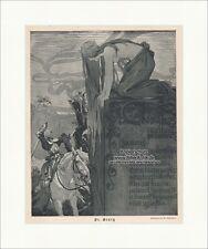 St. Georg Jugendstil von M. Liebenwein Schwert Pferd Reiter Drache Jugend 1152