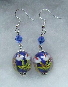BLUE ENCASED CALLA LILY LAMPWORK GLASS EARRINGS