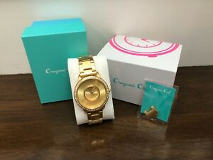 Origami Owl Gold Signature Locket Watch w/Crystals & Stainless Steel Band LK5002
