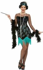 20s Peacock Flapper Costume, Womens Fancy Dress, UK Size 16-18
