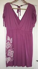 """Animal"" Women's Beach Dress, Size 16, Purple, Plunge V Front & Back, Tie Sleeve"