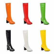 Womens Black/White/Red/Yellow/Orange Synthetic Leather Block Heel Mid Calf Boots