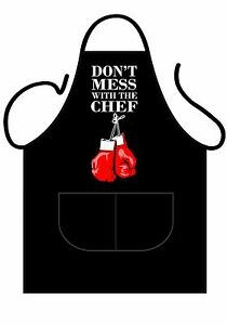 MENS/WOMENS,BLACK PRINTED NOVELTY APRON,KITCHEN OR BBQ, DON'T MESS WITH THE CHEF