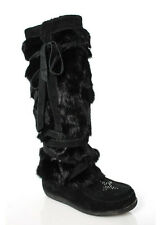 MUKS Black Suede Rabbit Fur Lace Up Knee High Winter Boots Sz 5 RBB136