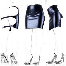 Wetlook Black PVC Style Faux Leather Backless Black Strap Spank Skirt