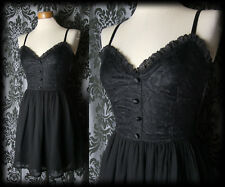 Gothic Black Lace Fitted NOSTALGIC Full Skirt Strap Dress 8 10 Vintage Romantic