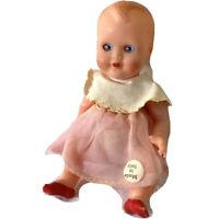"Vintage MILO Dollhouse Baby Doll  Blue Sleep Eyes Jointed All Original 5"" NICE!"