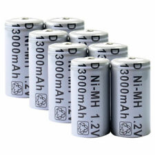 8pcs D Size D-Type D Type 13000mAh 1.2V Ni-MH Rechargeable Battery Cell Grey