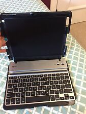 ZAGG iPad 2/3/4 Faux Leather Case with Keyboard Folio Rugged Plastic Shell Black