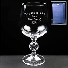 Personalised Engraved Crystal Wine Glass 21st 30th 40th Birthday Gifts Free Box