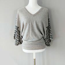 Mara Hoffman Gray Cashmere Sweater V Neck Black Lace Bat Sleeves Sz L
