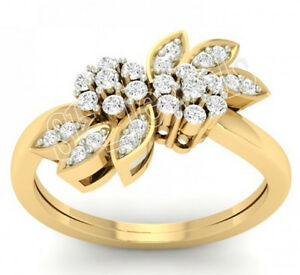 0.82ct NATURAL ROUND DIAMOND 14K SOLID YELLOW GOLD COCKTAIL RING IN SIZE 7 TO 9