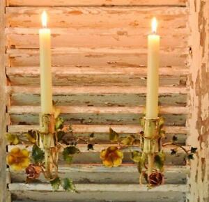 Heavenly Pair Antique Italian Candle Wall Sconces With Delicate Flowers & Leaves