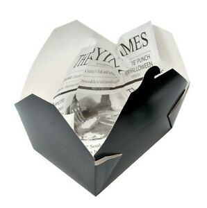 Leakproof Rectangle Black Takeaway Container - Eco Food Boxes Lid Disposable