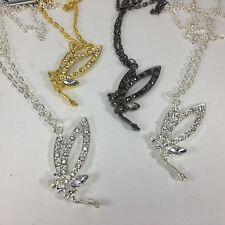 "NEW Rhinestone Tinkerbell Fairy 2.5""L Rhinestone Pendant Silver Gold 4 pcs #H34"