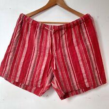Berketex earth tones red striped 100% cotton Shorts size 14 linen feel