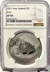2021 New Zealand $1 Kiwi Specimen 1 oz .999 Silver Coin - 5,000 Made - NGC SP 70