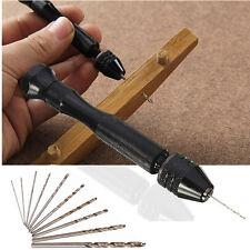 Aluminum Mini Hand Drill With Keyless Chuck Tools +10x Micro Twist Drills Rotary