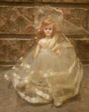 Vintage Plastic Sleep Eye Doll bridal gown 40s 50s