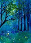 ORIGINAL ACEO Painting NIGHT Trees Summer Stars Fireflies Landscape Dark ATC ART