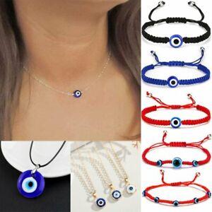 Turkish BLUE Evil Eye Bead Protection Good Luck Bracelet Necklace Women Jewelry