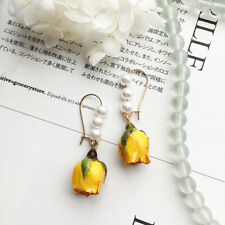 Real Women Wedding Flower Stud Earrings Dangle By Resin Drop Natural Preserved