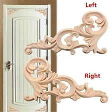 1 Pair Unpainted Wood Carved Corner Onlay Applique Frame Furniture Home Decor ♫