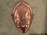 Vintage Hand Carved Hand Made Wood Wooden African Tribal Mask Display