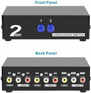 Panlong 2-Way AV Switch RCA Switcher 4 In 1 Out Composite Video L/R Audio Box