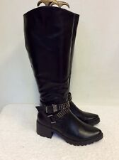 BRAND NEW IDEAL SHOES BLACK STUDDED BUCKLE TRIM KNEE LENGTH BOOTS SIZE 5/38