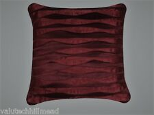 House Additions Red Satin Cushion with Silk/Satin Ruffle - 43cm