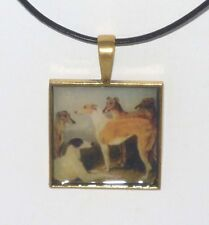 Altered Art Five Greyhound Dogs Pendant Necklace Gold Plated Sq Setting