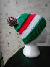 bobble hat Leicester tigers rugby colours green white red