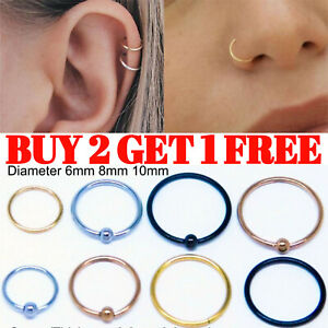 Nose Ring Stud Piercing Hoop Lip Tragus Helix Bar Cartilage Ear Small Thin