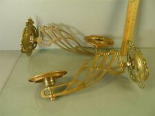 ANTIQUE ART NOUVEAU ORNATE BRASS BRONZE PAIR CANDLE HOLDER WALL SCONCES