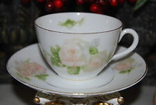 EARLY OHME SILESIA GERMANY HP FLOWERS PINK ROSES LARGE COFFEE TEA CUP SAUCER #1