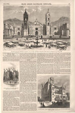 Plaza Mayor and Cathedral of Arequipa, Peru Destroyed by Earthquake   -  1868