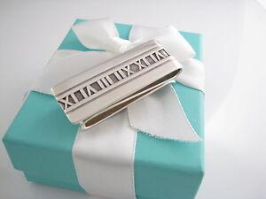 Rare Auth Tiffany & Co Silver Double Atlas Money Clip