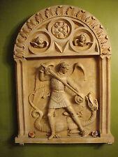 St.Archangel Michail killing the dragon stone wall decor Church art sculpture