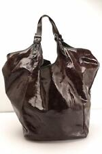 GIVENCHY Brow Gray Soft Patent Leather XL Shoulder Bag Handbag Travel Hobo
